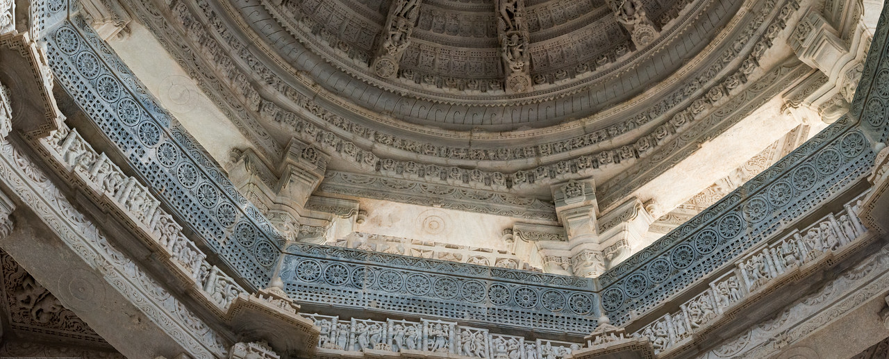 Panoramic view of the ceiling inside Ranakpur Jain Temple. Ranakpur is widely known for its marble Jain temple dedicated to Tirthankara Adinatha, and said to be the most spectacular of the Jain temples and is one among the most famous places to visit in Pali, Rajasthan. Constructed between 1437 to 1458, copper-plate inscriptions at the temple record that it was inspired by a dream of a celestial vehicle, Dhanna Shah, with the patronage of Rana Kumbha, then ruler of Mewar.