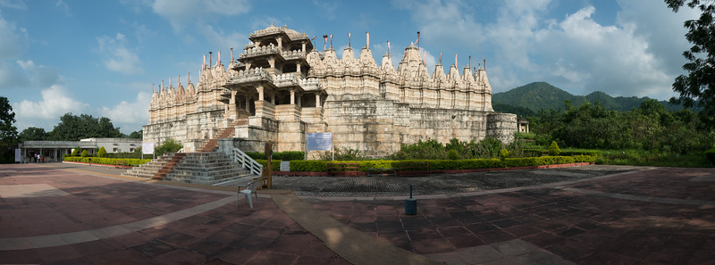 Panoramic view of the front of Ranakpur Jain Temple. Ranakpur is widely known for its marble Jain temple dedicated to Tirthankara Adinatha, and said to be the most spectacular of the Jain temples and is one among the most famous places to visit in Pali, Rajasthan. Constructed between 1437 to 1458, copper-plate inscriptions at the temple record that it was inspired by a dream of a celestial vehicle, Dhanna Shah, with the patronage of Rana Kumbha, then ruler of Mewar.