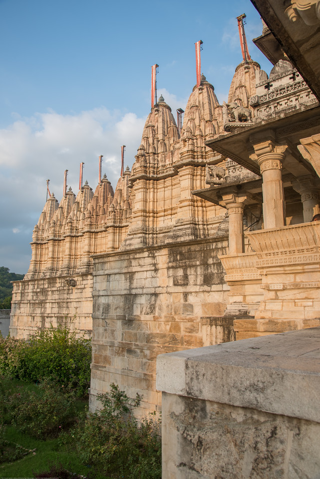 Front entrance to Ranakpur Jain Temple. Ranakpur is widely known for its marble Jain temple dedicated to Tirthankara Adinatha, and said to be the most spectacular of the Jain temples and is one among the most famous places to visit in Pali, Rajasthan. Constructed between 1437 to 1458, copper-plate inscriptions at the temple record that it was inspired by a dream of a celestial vehicle, Dhanna Shah, with the patronage of Rana Kumbha, then ruler of Mewar.