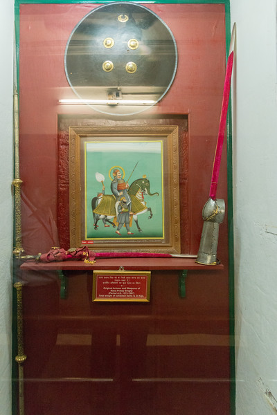 Original armour and weapons of Rana Pratap Singhji (Period A.D. 1572-1597).<br /> Items on display at the Haldi Ghati Gallery at City Palace, Udaipur, Rajasthan, India.