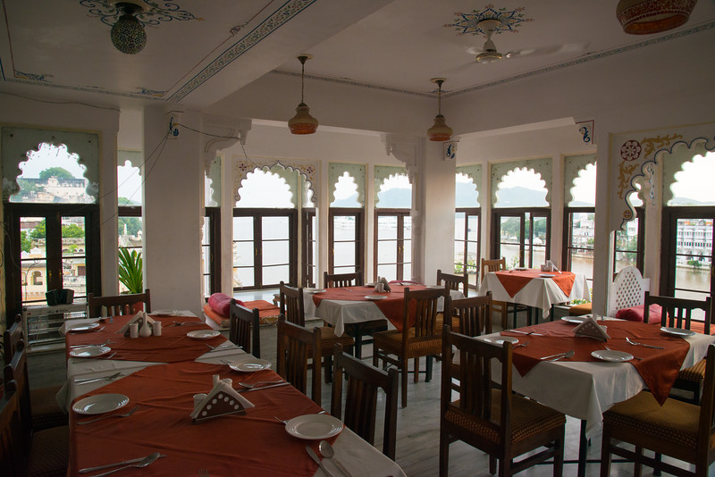 Terrace restuarant with a view of Udaipur, Rajasthan, India.