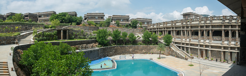 Panoramic view at Ramada Udaipur Resort and Spa, Udaipur, Rajasthan, India<br /> <br /> Built in an ornate, Tekri Work building, this elegant spa hotel is 4.7 km from the Jagdish Temple and 5 km from the Monsoon Palace which is visible from the hotel.