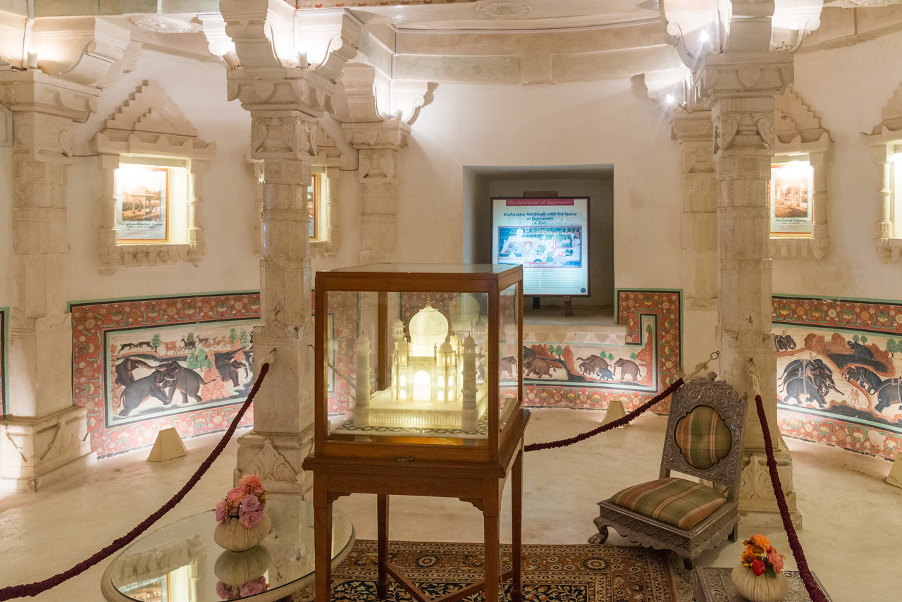 """Display at Jagmandir (Jag Mandir)<br /> <br /> Jag Mandir is a palace built on an island in the Lake Pichola. It is also called the """"Lake Garden Palace"""". The palace is located in Udaipur city in the Indian state of Rajasthan."""