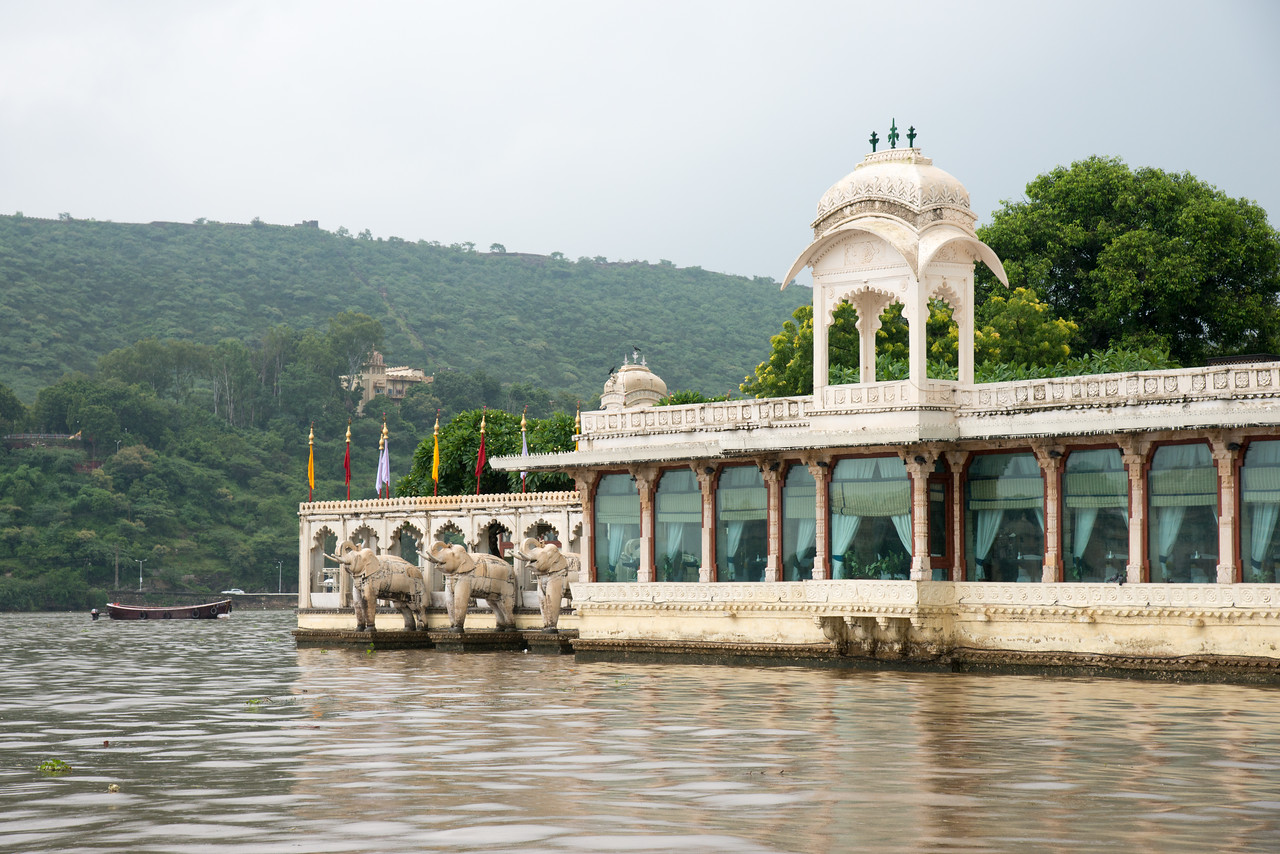 "Jag Mandir seen from Lake Pichola.<br /> <br /> Jag Mandir is a palace built on an island in the Lake Pichola. It is also called the ""Lake Garden Palace"". The palace is located in Udaipur city in the Indian state of Rajasthan."