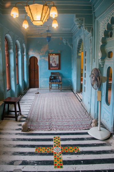 Interiors of City Palace, Udaipur, Rajasthan, India.