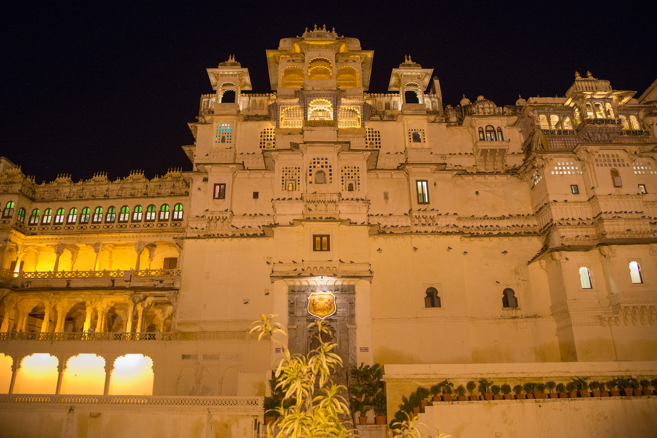 Sound and light show late evening at the City Palace lawns, Udaipur, Rajasthan, India.