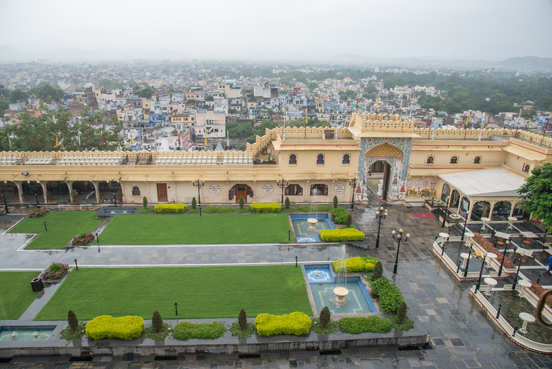 View of the city from City Palace, Udaipur, Rajasthan, India.