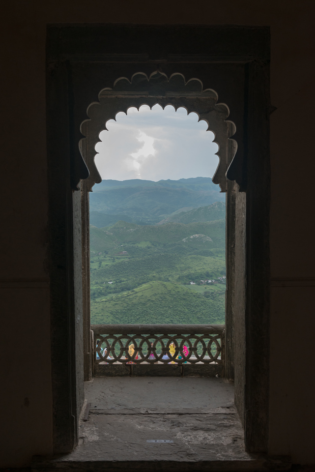View from The Monsoon Palace (Sajjan Garh Palace)  a hilltop palatial residence in the city of Udaipur, Rajasthan in India.
