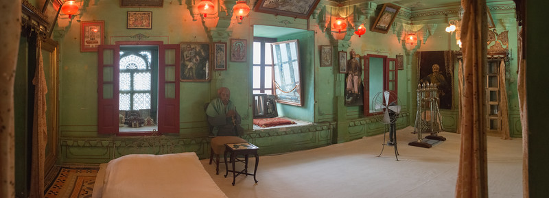 Panoramic view of the inner royal rooms at City Palace, Udaipur, Rajasthan, India.