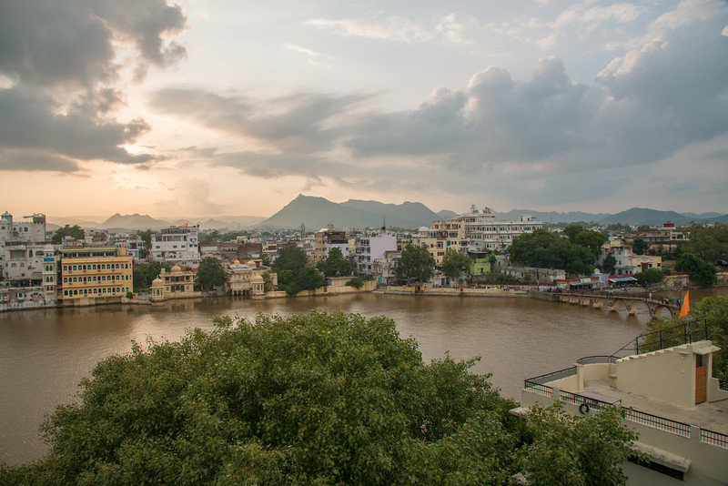 Elevated view in evening light of Udaipur, Rajasthan, India.