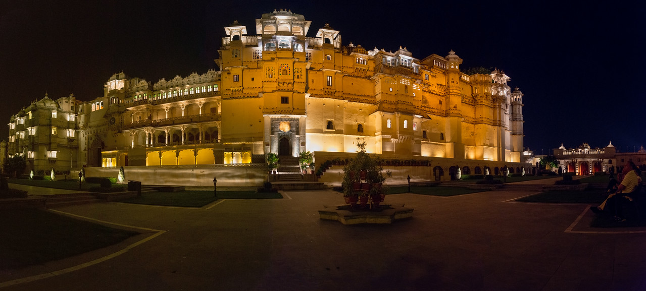Panoramic late evening view at City Palace lawns, Udaipur, Rajasthan, India.