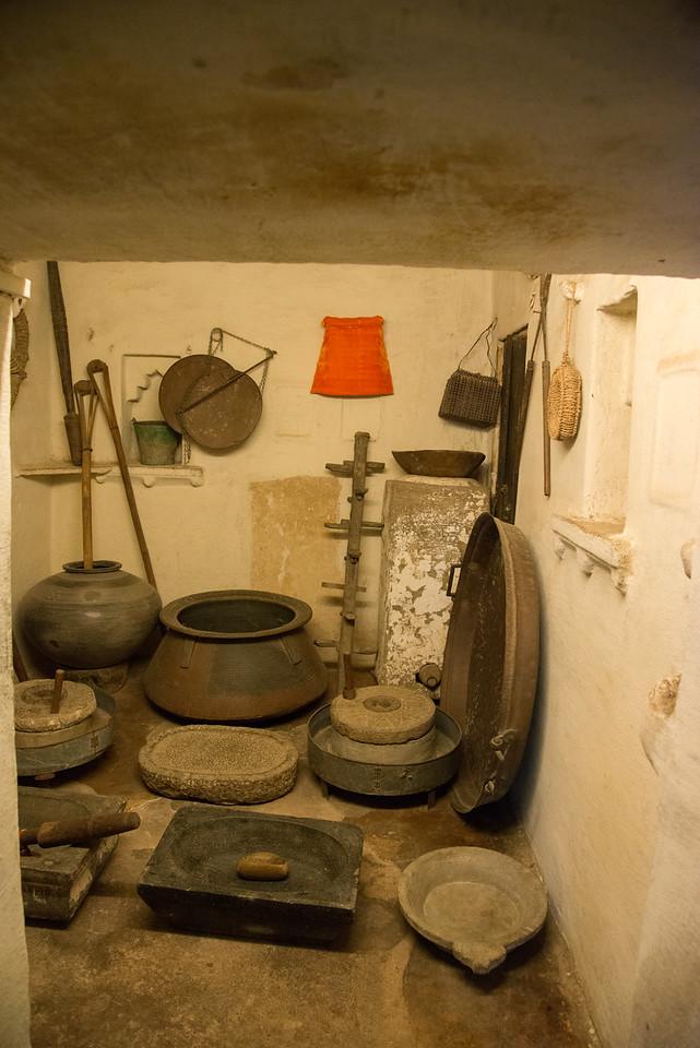 Kitchen cooking items at City Palace, Udaipur, Rajasthan, India.