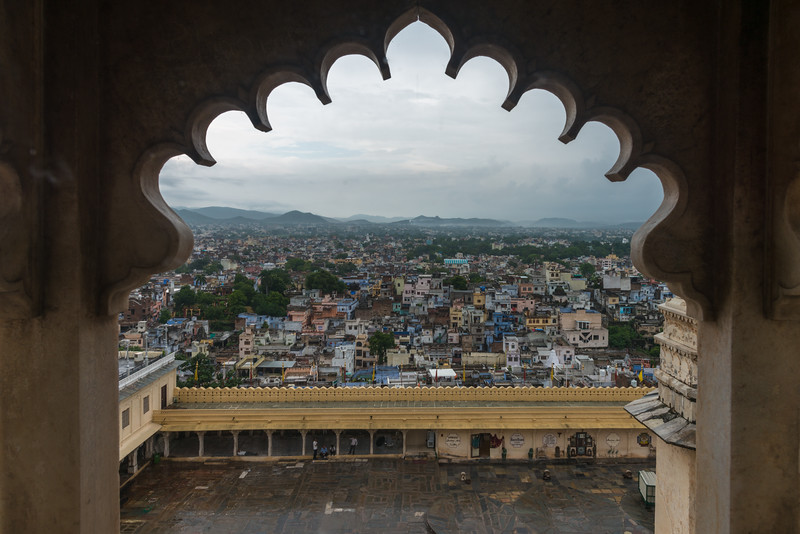 City view from Amar Vilas, City Palace, Udaipur, Rajasthan, India.