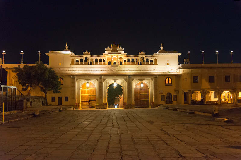 Late evening view at City Palace lawns, Udaipur, Rajasthan, India.