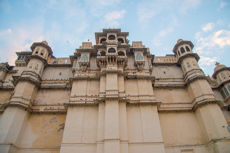 Elevation view of City Palace, Udaipur, Rajasthan, India.