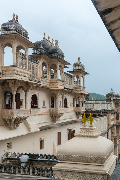 Jharokhas at City Palace, Udaipur, Rajasthan, India.