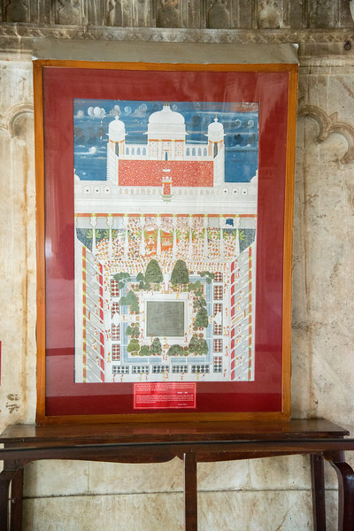 Artist Ghasi's depiction of Maharaja Jawan Singh's recitation of holy scriptures at Amar Vilas, City Palace, Udaipur, Rajasthan, India.