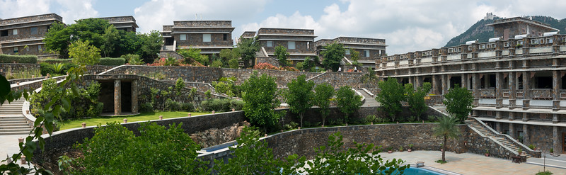 Panoramic view of Hotel Ramada Udaipur Resort and Spa, Udaipur, Rajasthan, India.<br /> <br /> Built in an ornate, Tekri Work building, this elegant spa hotel is 4.7 km from the Jagdish Temple and 5 km from the Monsoon Palace which is visible from the hotel.