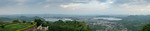 Panoramic view of Udaipur City from The Monsoon Palace, also known as the Sajjan Garh Palace - a hilltop palatial residence in the city of Udaipur, Rajasthan in India, overlooking the Fateh  ...