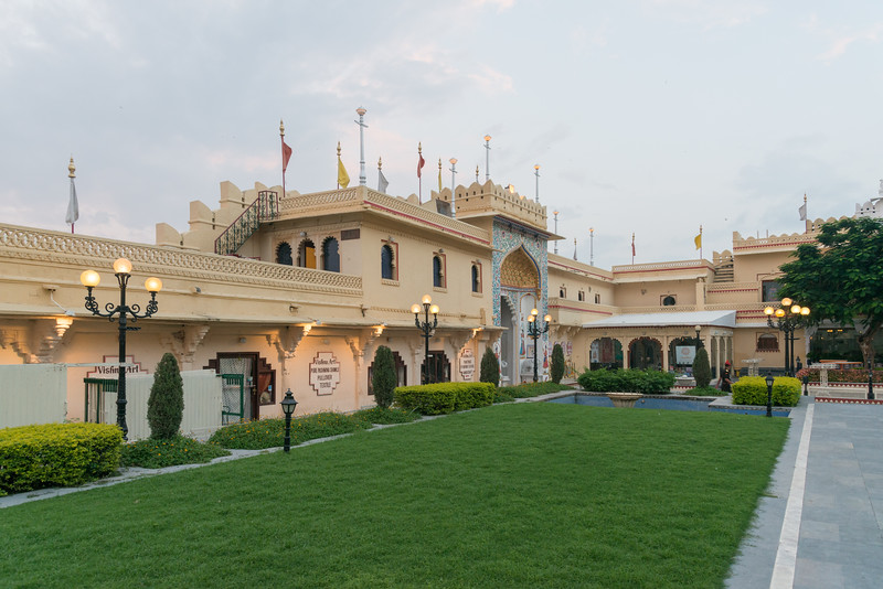 Evening lights coming up at City Palace lawns at Udaipur, Rajasthan, India.