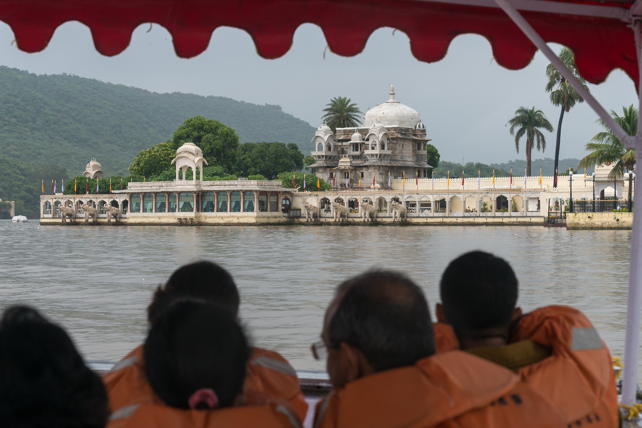 "Approaching Jag Mandir via boat on Lake Pichola.<br /> <br /> Jag Mandir is a palace built on an island in the Lake Pichola. It is also called the ""Lake Garden Palace"". The palace is located in Udaipur city in the Indian state of Rajasthan."