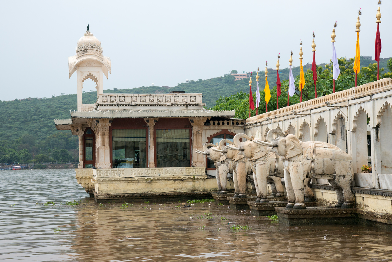 """Jag Mandir seen from Lake Pichola.<br /> <br /> Jag Mandir is a palace built on an island in the Lake Pichola. It is also called the """"Lake Garden Palace"""". The palace is located in Udaipur city in the Indian state of Rajasthan."""