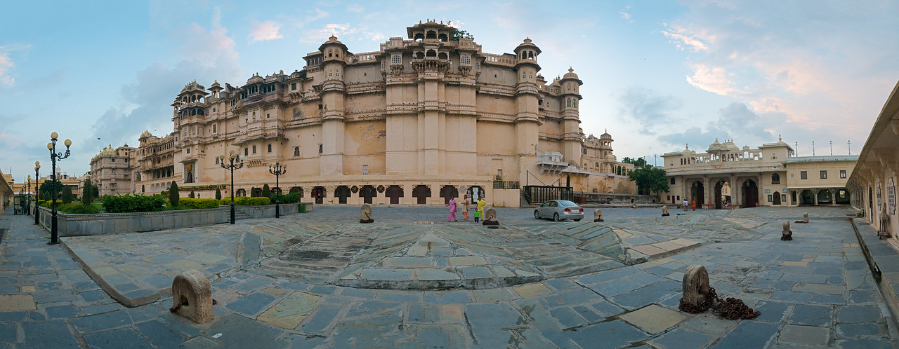 Panoramic view of City Palace, Udaipur, Rajasthan, India.