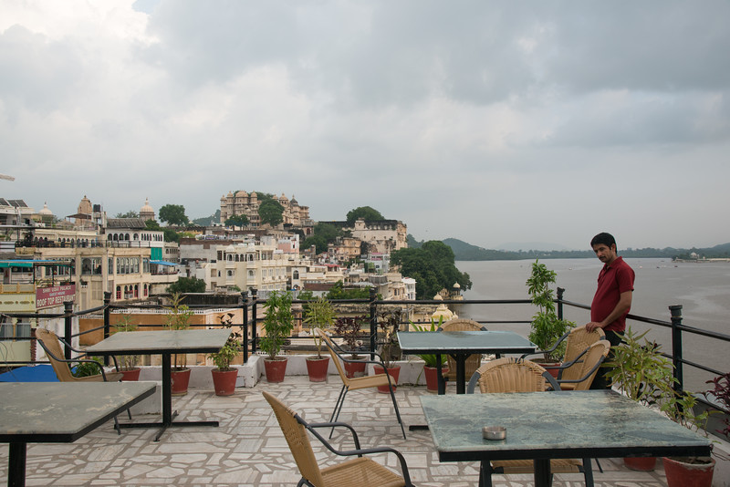 Terrace restuarant view in Udaipur, Rajasthan, India.