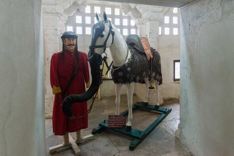 Model of Chetak, Maharana Pratap's horse at Haldi Ghati Gallery at City Palace, Udaipur, Rajasthan, India.