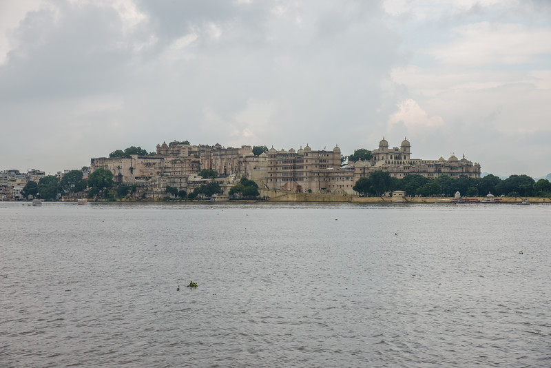 "City Palace seen from Jagmandir (Jag Mandir) across Lake Pichola.<br /> <br /> <br /> <br /> Jag Mandir is a palace built on an island in the Lake Pichola. It is also called the ""Lake Garden Palace"". The palace is located in Udaipur city in the Indian state of Rajasthan."