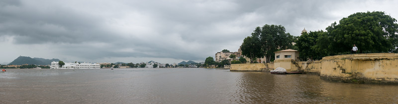 Panoramic view of CIty Palace and Taj Lake Palace on Lake Pichola, Udaipur, RJ, India.