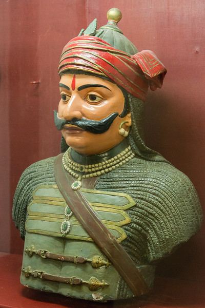 Bust of Maharana Pratap at Haldi Ghati Gallery at City Palace, Udaipur, Rajasthan, India.