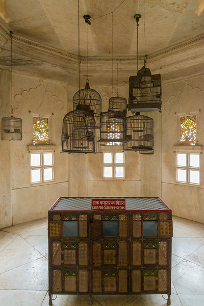 Cages for carrier pigeons. City Palace, Udaipur, Rajasthan, India.