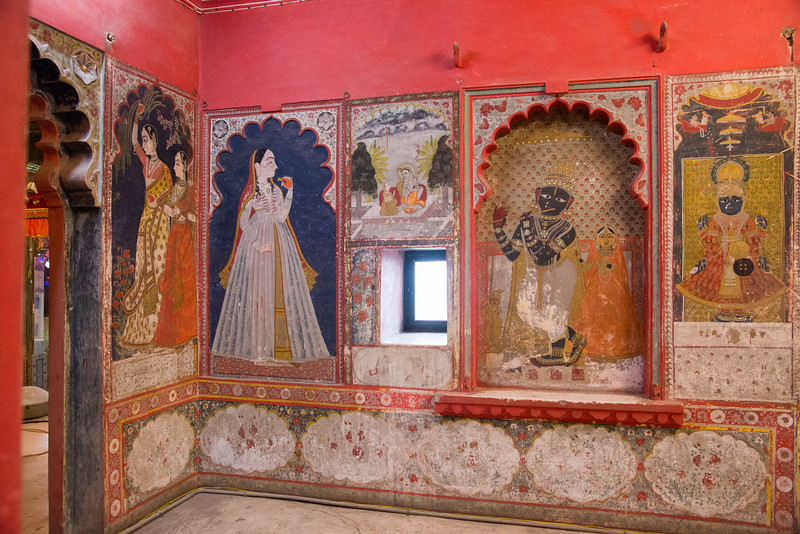 Wall paintings of Shri Krihna in City Palace, Udaipur, Rajasthan, India.