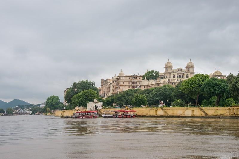 City Palace seen on a boat ride from Jagmandir (Jag Mandir).<br /> <br /> The palace is located in Udaipur city in the Indian state of Rajasthan.