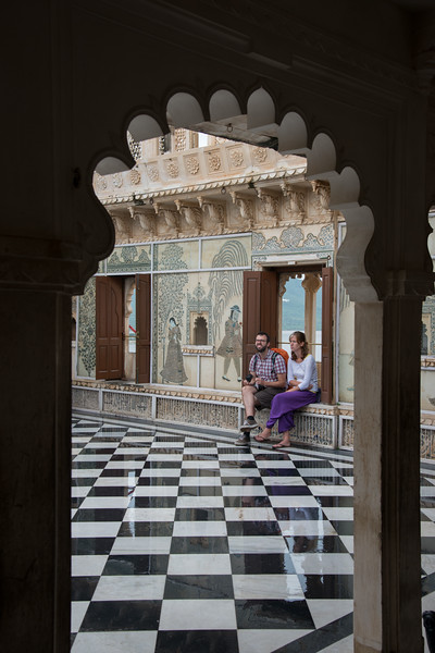 Tourists at the City Palace, Udaipur, Rajasthan, India.