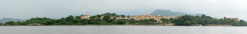 Panoramic view Udaipur from Lake Pichola, Udaipur, RJ, India.