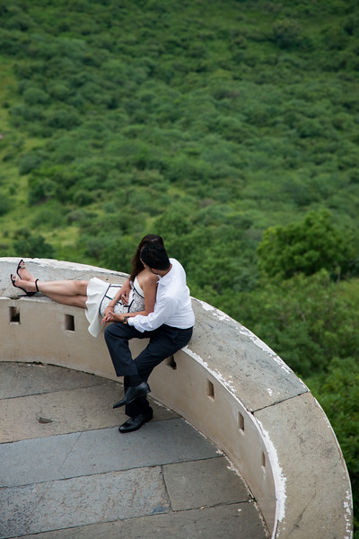 Married couples come for solitude and taking memorable pictures at The Monsoon Palace (Sajjan Garh Palace), a hilltop palatial residence in the city of Udaipur, Rajasthan in India, overlooking the Fateh Sagar Lake.