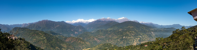 Panoramic view of Kanchenjunga from Upper Pelling, Sikkim. North East India.