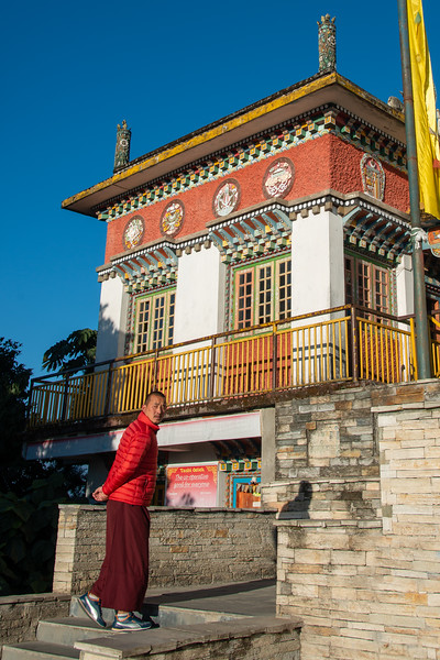 Entrance to Pemayangtse Monastery (पेमयांग्त्से मोनास्ट्री), Geyzing, Sikkim. Multi-level historic buddhist monastery built in the 17th century and featuring a number of traditional statues, sculptures & paintings.
