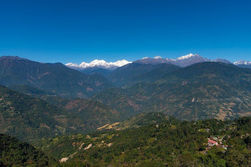 View of Kanchenjunga from viewing point at Upper Pelling, Sikkim 737111. North East India.