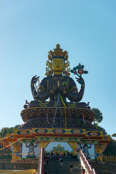 Gaint Statue Sangachuling Monasetery / Chenrezing (गैंट स्टैचू संगचुलिंग मोनासेतेरी / चेंरेजिंग) is located at Sanghak Choeling Monastery (संघक चोएलिंग मोनास्ट्री), Pelling City, Sikkim which is a 17th-century Buddhist monastery near Kanchandzanga. North East India.