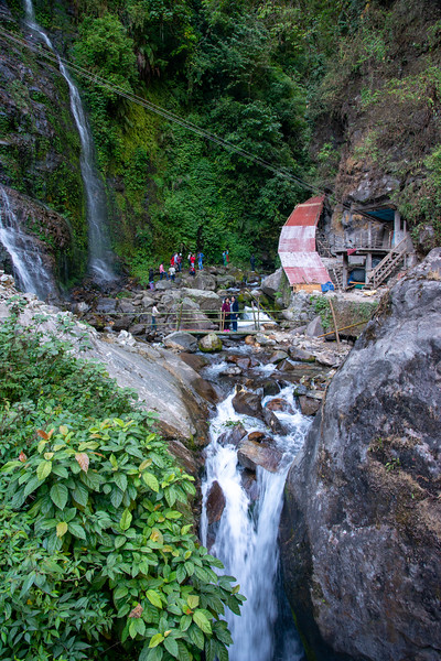 Tourists visiting the Kanchandzanga Falls (कन्चंद्ज़ंगा फॉल्स), Pelling-Yaksam Road, Sikkim, North East India.