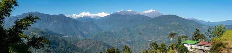 Panoramic view of Kanchenjunga Himalayan mountain range, Pelling-Rimbi Rd, Pelling City, Sikkim, North East India.