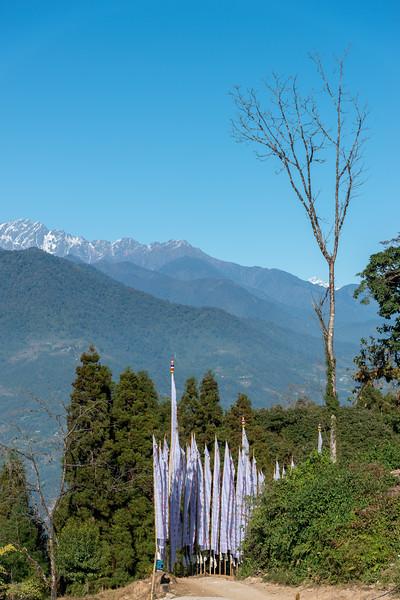 Sky Walk Pelling Sikkim (स्काई वॉक पेल्लिंग सिक्किम) at the Sanghak Choeling Monastery (संघक चोएलिंग मोनास्ट्री), Pelling City, Sikkim. North East India. This 17th-century Buddhist monastery on a hill has a great view of Kanchandzanga mountain.