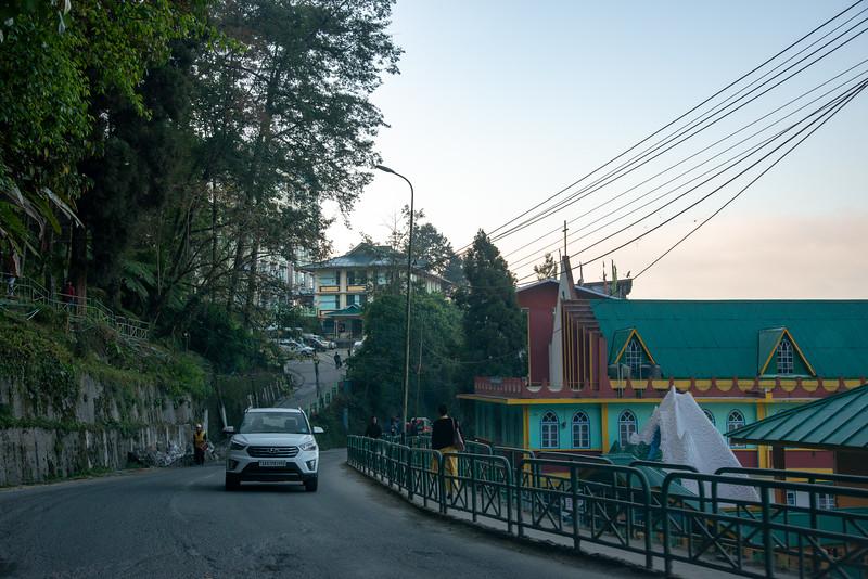 Clean roads with demarcated pedestrian walking zone in Gangtok city, Gangtok, East Sikkim, India.