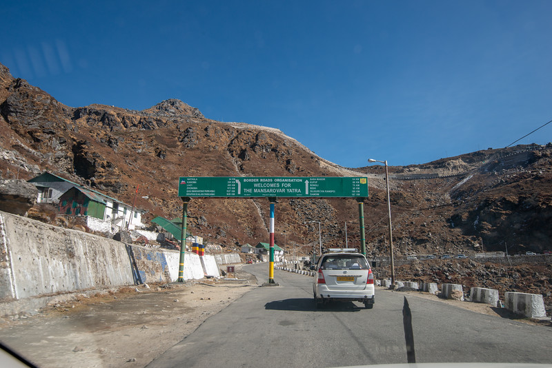 Mountain roads on Jawaharlal Nehru Road, enroute Gangtok to Nathula Pass, East Sikkim, India. Indian army presence at regular intervals as this location is close to Indo-China border.