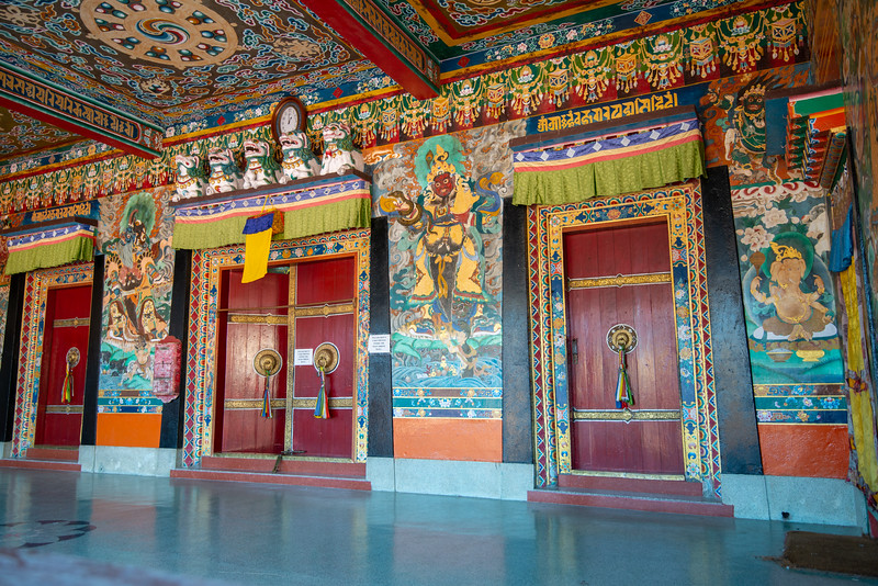 Rumtek Dharma Chakra Centre (रूमटेक धर्मचक्र केन्द्र), Tsurphu Labrang Pal Karmae Sangha Dhuche, Sikkim, North East India. Colourful 17th century tranquil Buddhist monastery.
