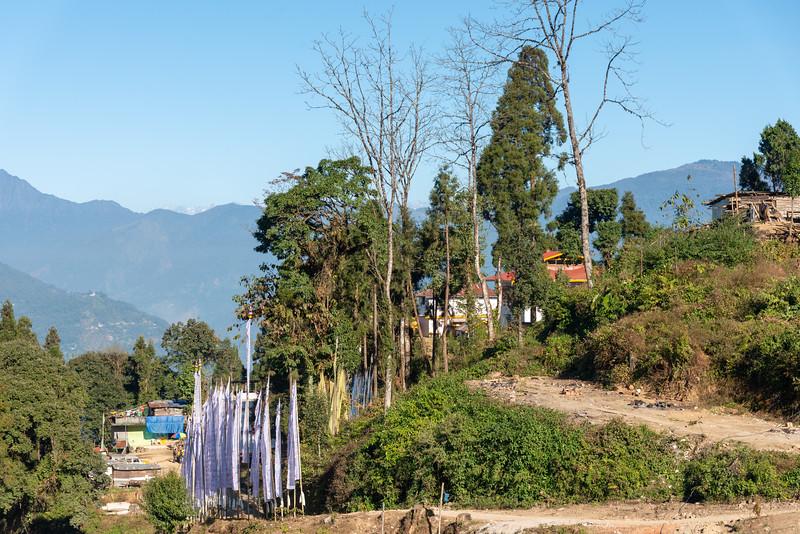 Sky Walk Pelling Sikkim (स्काई वॉक पेल्लिंग सिक्किम) at the Sanghak Choeling Monastery (संघक चोएलिंग मोनास्ट्री), Pelling City, Sikkim. This 17th-century Buddhist monastery on a hill has a great view of Kanchandzanga mountain. North East India.