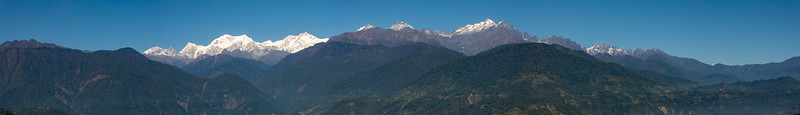 Panoramic view of Kanchenjunga, Himalayan mountain range from Upper Pelling, Sikkim, North East India.